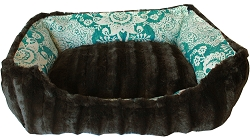Reversible bumper dog bed Gypsy Teal Medium