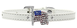 Flag Charm Dog Collar White size 16