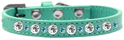 Posh Jeweled Dog Collar Aqua Size 14