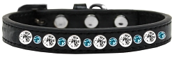 Posh Jeweled Dog Collar Black with Aqua Size 16