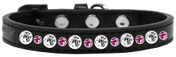 Posh Jeweled Dog Collar Black with Bright Pink Size 14