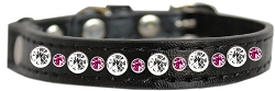 Posh Jeweled Cat Collar Black with Bright Pink Size 14