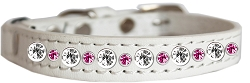 Posh Jeweled Cat Collar White with Bright Pink Size 14