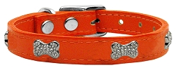 Crystal Bone Genuine Leather Dog Collar Orange 24
