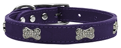 Crystal Bone Genuine Leather Dog Collar Purple 16