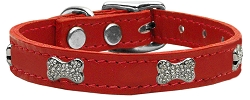 Crystal Bone Genuine Leather Dog Collar Red 12