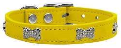 Crystal Bone Genuine Leather Dog Collar Yellow 18