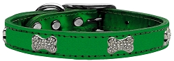 Crystal Bone Genuine Metallic Leather Dog Collar Emerald Green 20