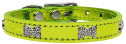 Crystal Bone Genuine Metallic Leather Dog Collar Lime Green 24