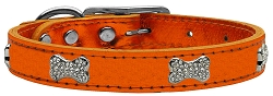 Crystal Bone Genuine Metallic Leather Dog Collar Orange 24