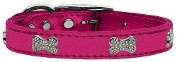 Crystal Bone Genuine Metallic Leather Dog Collar Pink 22