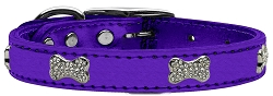 Crystal Bone Genuine Metallic Leather Dog Collar Purple 16