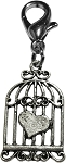 Bird Cage Heart Lobster Claw Charm