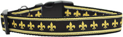 Black and Gold Fleur de Lis Nylon Dog Collars