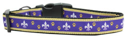Purple and Yellow Fleur de Lis Nylon Dog Collars