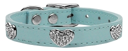 Crystal Heart Genuine Leather Dog Collar Baby Blue 16