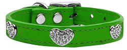 Crystal Heart Genuine Leather Dog Collar Emerald Green 18