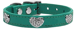 Crystal Heart Genuine Leather Dog Collar Jade 22