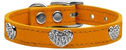Crystal Heart Genuine Leather Dog Collar Mandarin 24