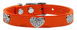 Crystal Heart Genuine Leather Dog Collar Orange 10