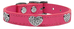 Crystal Heart Genuine Leather Dog Collar Pink 22