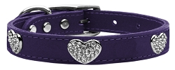 Crystal Heart Genuine Leather Dog Collar Purple 18