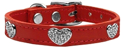 Crystal Heart Genuine Leather Dog Collar Red 18