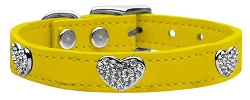 Crystal Heart Genuine Leather Dog Collar Yellow 22