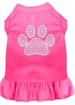 Chevron Paw Screen Print Dress Bright Pink Med (12)