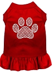 Chevron Paw Screen Print Dress Red Med (12)