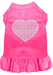 Chevron Heart Screen Print Dress Bright Pink Lg (14)