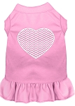 Chevron Heart Screen Print Dress Light Pink XS (8)