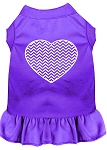 Chevron Heart Screen Print Dress Purple XS (8)