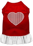 Chevron Heart Screen Print Dress Red with White XS (8)