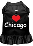 I Heart Chicago Screen Print Dog Dress Black XS (8)