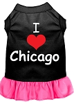 I Heart Chicago Screen Print Dog Dress Black with Bright Pink XS (8)