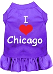 I Heart Chicago Screen Print Dog Dress Purple XS (8)
