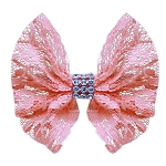 Hair Bow Lace and Crystals Clip Light Pink