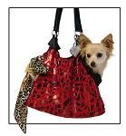 Red with Animal Foil RunAround Pet Carrier Tote