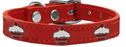Red Cupcake Widget Genuine Leather Dog Collar Red 22