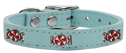 Peppermint Widget Genuine Leather Dog Collar Baby Blue 22