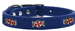 Peppermint Widget Genuine Leather Dog Collar Blue 22
