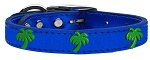 Green Palm Tree Widget Genuine Metallic Leather Dog Collar Blue 18