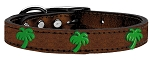Green Palm Tree Widget Genuine Metallic Leather Dog Collar Bronze 26