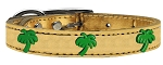 Green Palm Tree Widget Genuine Metallic Leather Dog Collar Gold 26