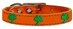 Green Palm Tree Widget Genuine Metallic Leather Dog Collar Orange 12