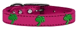 Green Palm Tree Widget Genuine Metallic Leather Dog Collar Pink 14