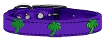 Green Palm Tree Widget Genuine Metallic Leather Dog Collar Purple 12