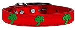 Green Palm Tree Widget Genuine Metallic Leather Dog Collar Red 14