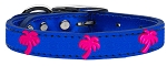 Pink Palm Tree Widget Genuine Metallic Leather Dog Collar Blue 22